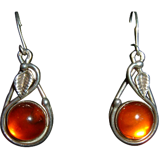 Vintage French 900 Silver Cognac Amber Earrings Hallmarked