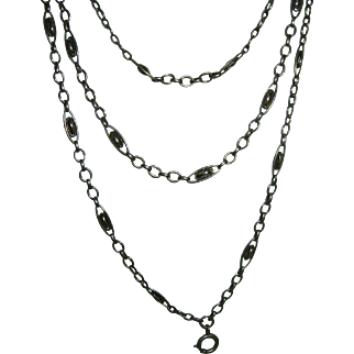 Antique French 900 Silver Long Guard Muff Chain 25 gr