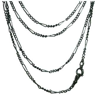 Antique 800 Silver Long Guard Muff Chain 64""