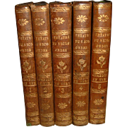 Antique French Full Leather Books 5 Volumes