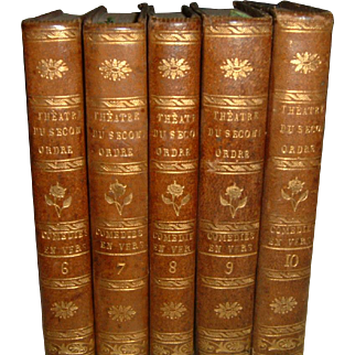 Antique French Full Leather Books 5 Volumes #2