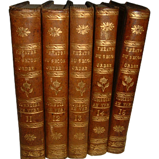 Antique French full leather Books 5 Volumes #3