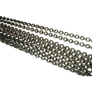 Antique French 900 Silver Long Guard Muff Chain Heavy