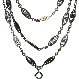 Antique French 900 Silver Long Muff Chain Super