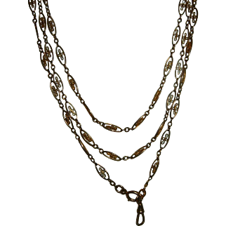 Antique French Gold Filled Long Guard Muff Chain