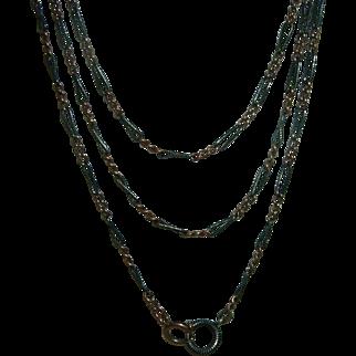 Antique 800 Silver Niello Long Guard Muff Chain