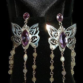 Antique Silver Amethyst Earrings Butterfly Shape Super