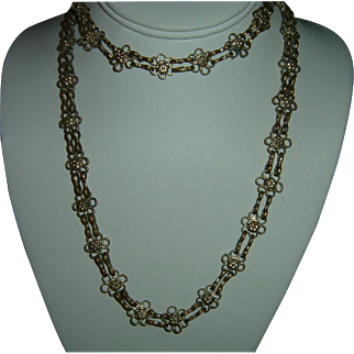 Antique French 900 Silver long guard Chain Heavy 67 gr