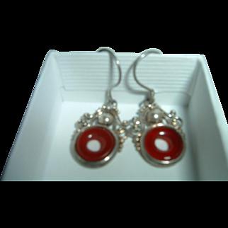 Antique 900 Silver Carnelian Earrings