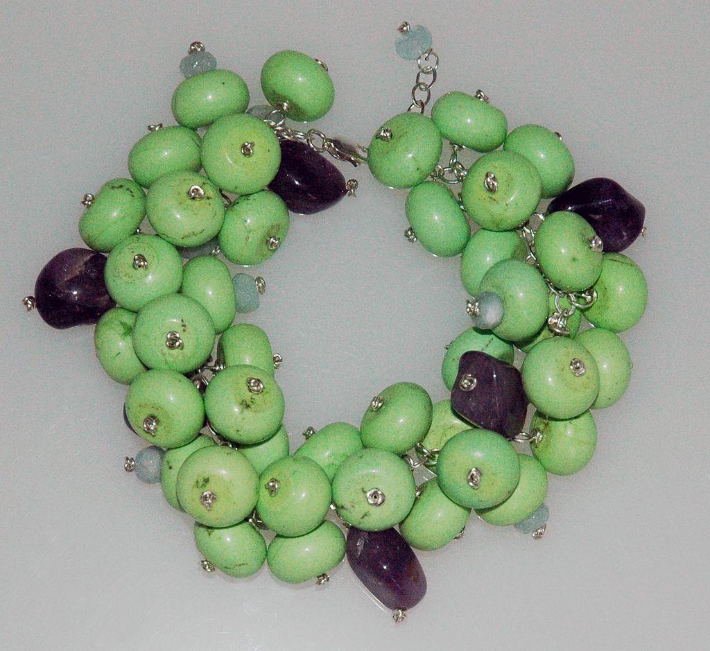 Green Turquoise, Amethyst & Aqua Marine Bracelet