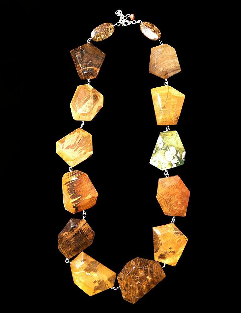 Two-Tone Asymmetrical Jasper Necklace
