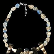Laps Lazuli, Pyrite & Horn Necklace