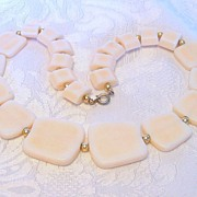 Cream and Blush Plastic Necklace