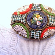 Victorian Micromosaic Scallop Shell and Flowers Brooch
