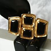 Striking Abstract Black and Gold 1980's Brooch