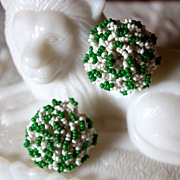 Wonderful 1940's Seed-beaded Green and White Earrings