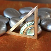 1980's Egyptian Revival Patriotic Pyramid and Eye Brooch