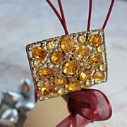 Glowing 1940's Golden Rhinestone Brooch