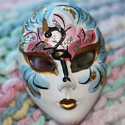 Hand-Painted Porcelain Venetian Carnival Mask Brooch