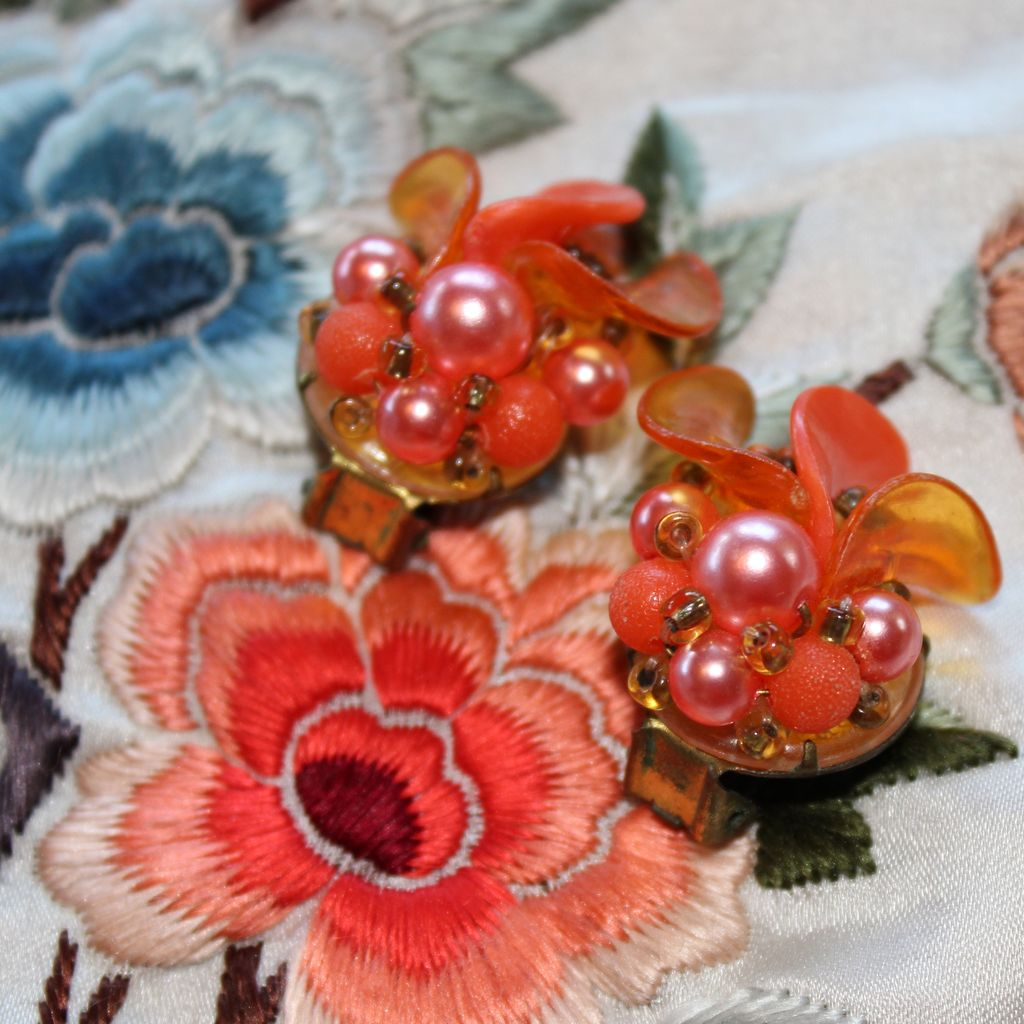 Tangerine Dream 1960's Beaded West German Clip Earrings from ...