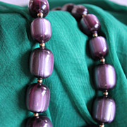 Luscious Frosted Blueberry Coro Moonglow Lucite Necklace