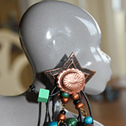 Extremely Funky Copper Star, Concho and Painted Bead Earrings