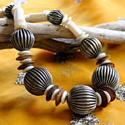 Striking Fluted Bead, Bone and Coconut 1980's Necklace