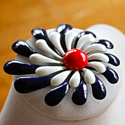 1980's Red, White and Blue Tin Flower Brooch