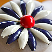 1960's Patriotic and Pretty Tin Flower Brooch