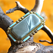 Gentle Blue Art Deco Celluloid, Enamel and Brass Brooch
