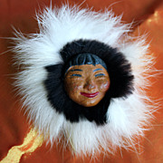 Inuit Ceramic and Seal Fur 1940's/50's Brooch
