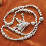 Elegant 1950's Faux Pearl Lavaliere Tassel Necklace