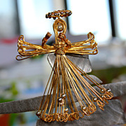 Unusual Handmade Wire-work Angel Brooch