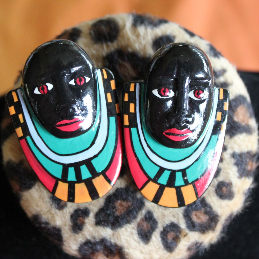 Graphic Fantastic African Mask Earrings