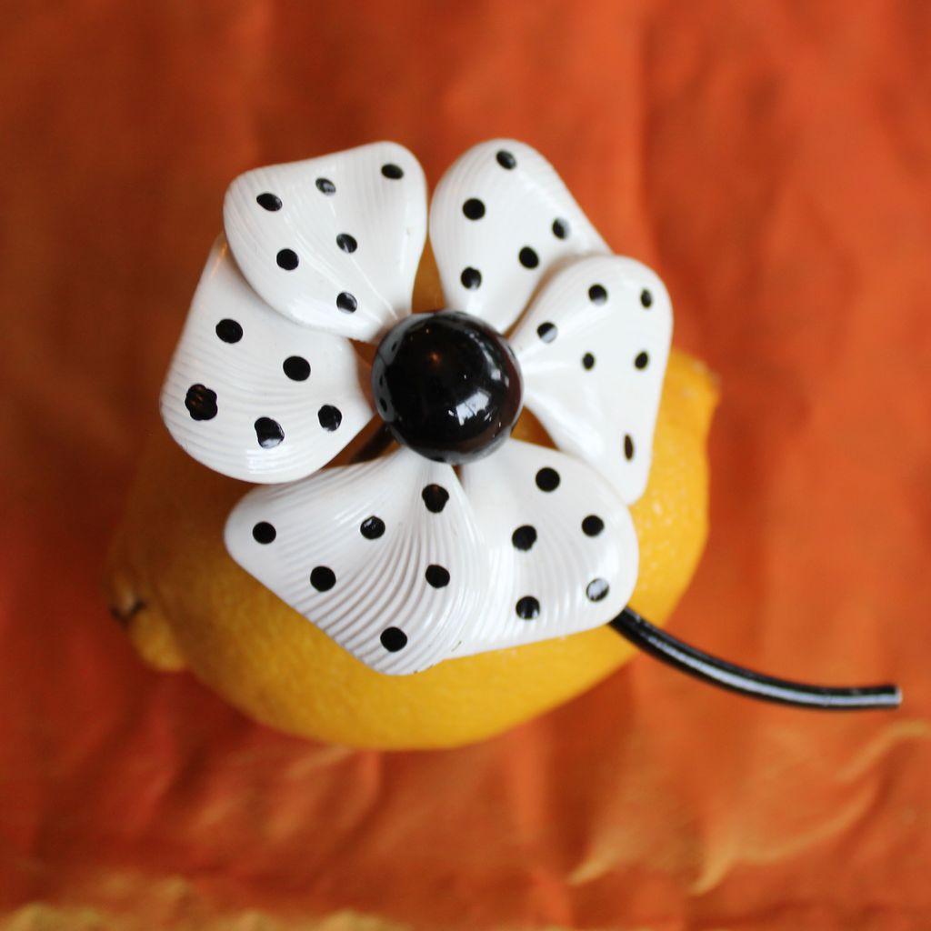 Dotty Enamel Flower Brooch