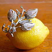 Frosted Buds Textured BSK Rhinestone Brooch