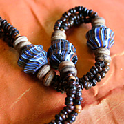 Richly Striped 1970's Moroccan Trade Bead Necklace
