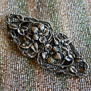 Pewter Arts and Crafts Hand-hammered Wild Roses Buckle