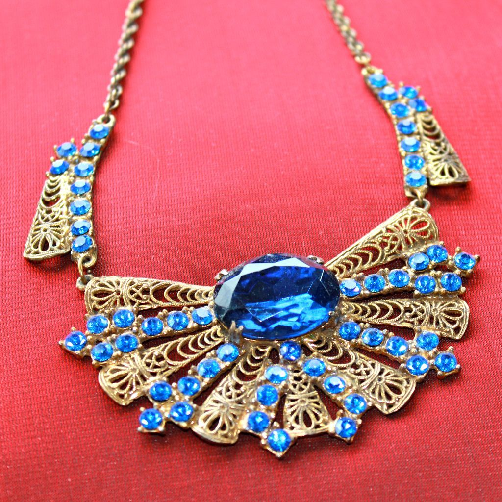 Dazzling Blue Deco Rhinestone Necklace
