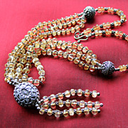 Glorious Indonesian Golden Citrine and Sterling Tassel Necklace