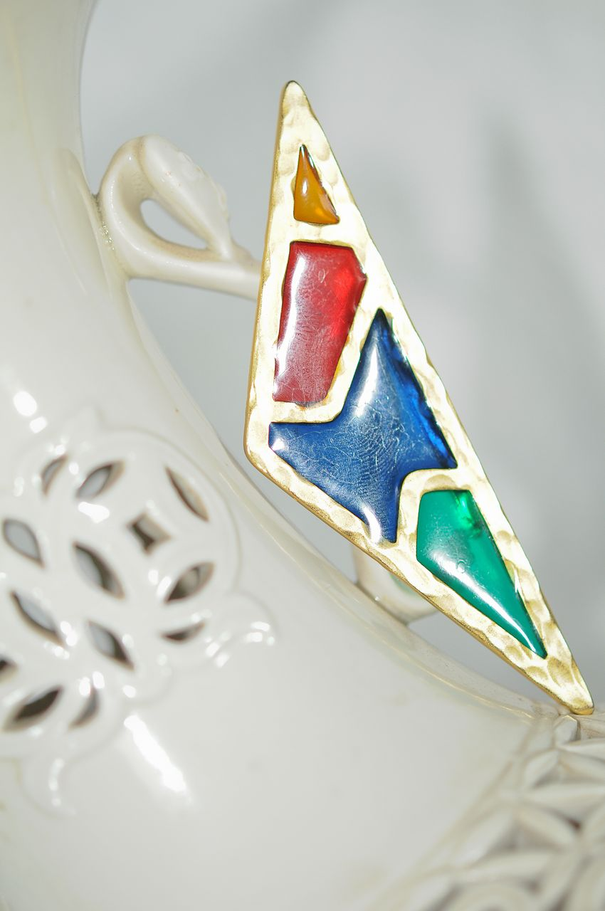 Striking New Romantic Triangle Brooch in Stained Glass Colours