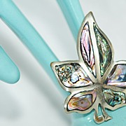 Abalone Inlaid Maple-Leaf Brooch