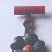 Vintage Celluloid Dangling Flower Pin in Black and Red