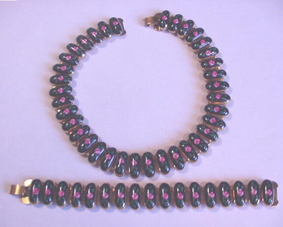 Superb Vintage Enameled Rose Necklace and Bracelet