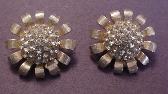 Vintage Weiss Citrine Rhinestone Earrings