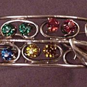 Vintage Sterling Silver and Rhinestone Bracelet