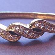 Beautiful and Vintage Hinged Rhinestone Bangle Bracelet