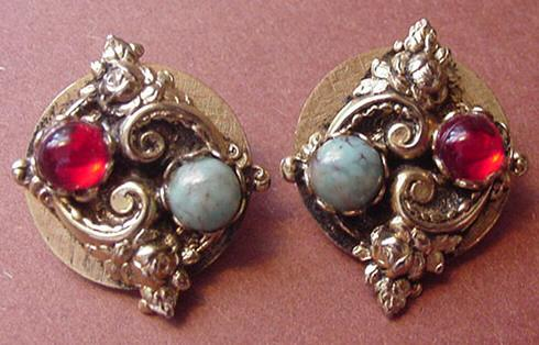 Vintage Victorian Revival Earrings Faux Turquoise