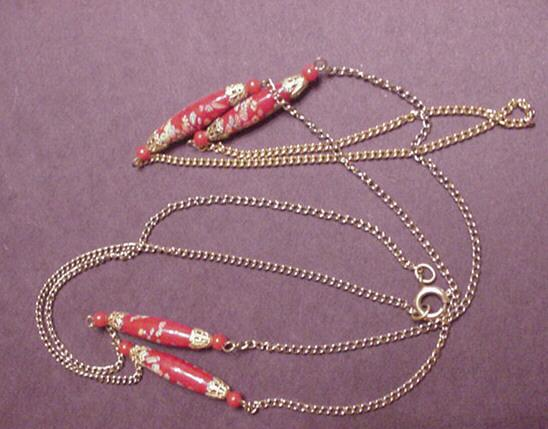 Vintage Red Floral Venitian Glass Bead Necklace