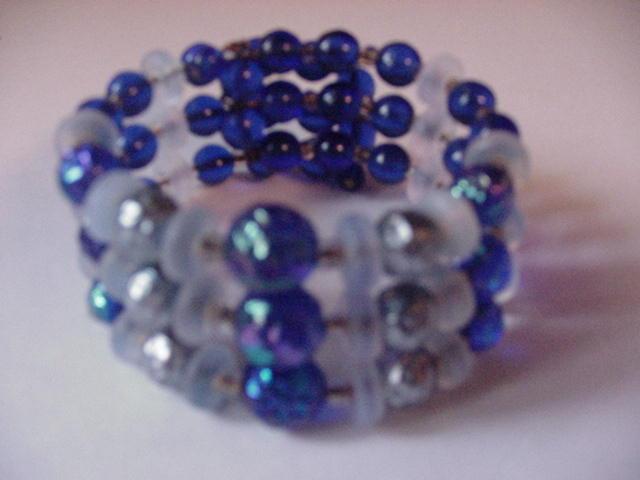 Wonderful Cobalt Glass Wrap Bracelet